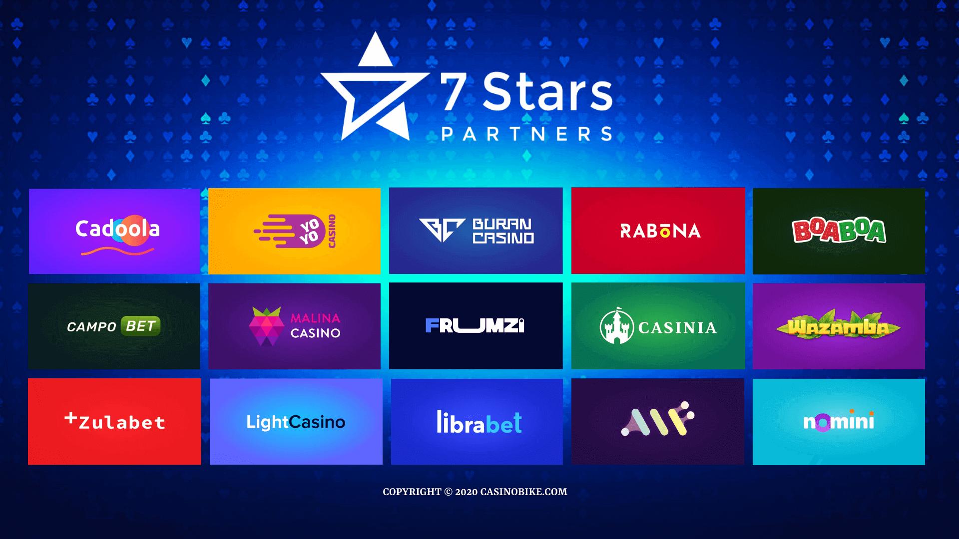 7StarsPartners operates 15 online casino brands