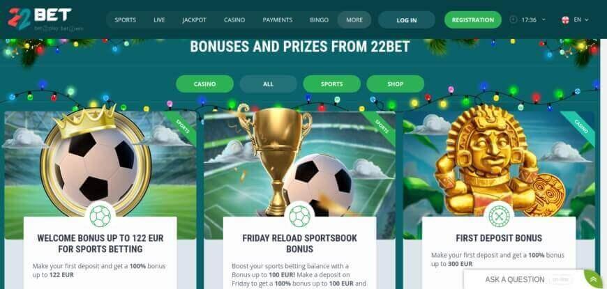 22Bet Sportsbook bonuses for sports betting