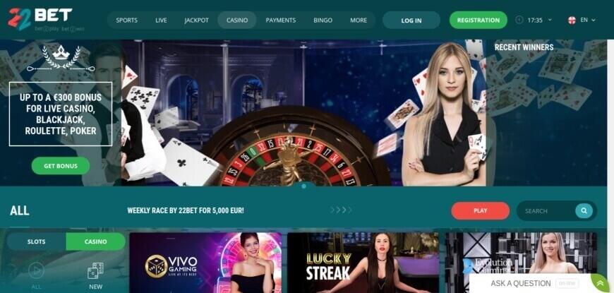 22Bet live betting on live dealer casino games