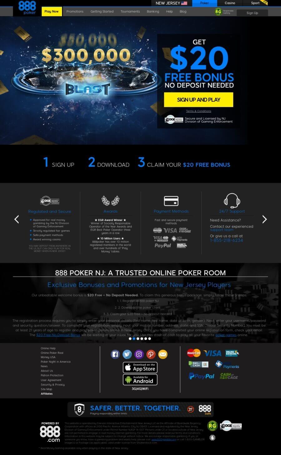 888 Online Poker New Jersey $20 Free No deposit needed