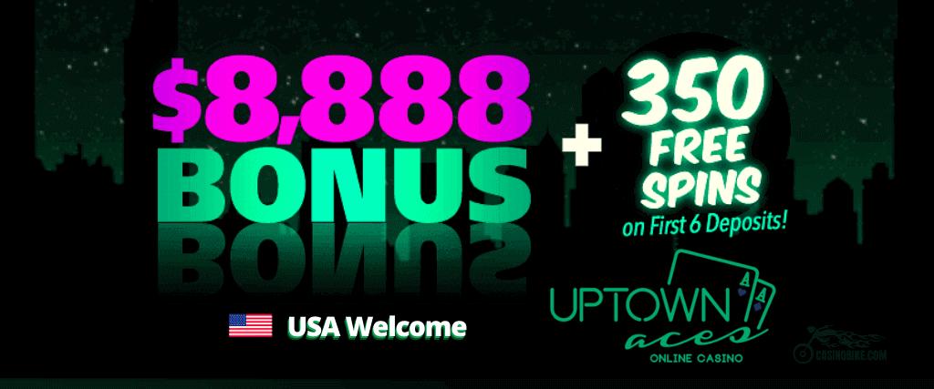 Massive $8,888 Welcome Bonus + 350 Free Spins Uptown Aces Casino