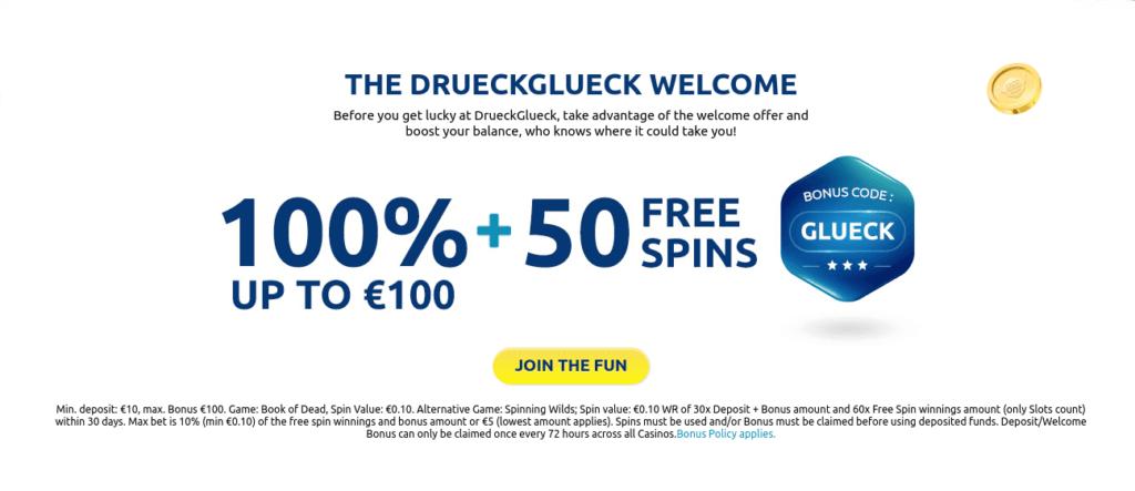 Get the Best Bonuses & Free Spins at Druck Glueck Casino