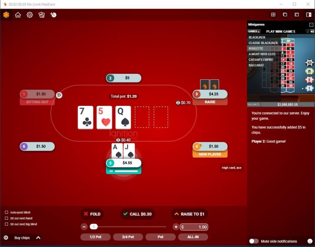 Ignition No Limit Texas Hold'em Poker