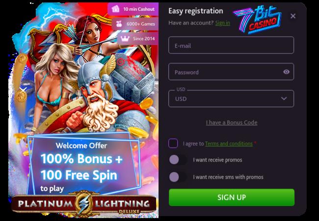 Easy Registration at 7BitCasino